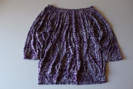 W13260 Womens Ann Taylor Loft Gray/Purple Leopard Print Peasant Shirt Top Sp Sml - $11.65