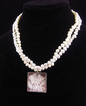 LARGE Baroque pearl Necklace / Abalone rose pendant / wedding jewelry / ... - $155.00