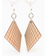Green Tree Jewelry Graph Lines Earrings Natural Wood Wooden Laser Cut #1041 - $9.99