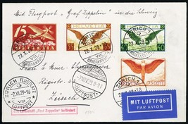 1929 LZ-129 Graf Zeppelin Switzerland - Flight Cover To Zurich -- Stuart... - $150.00