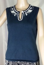 Ann Taylor Petites Knit Shell Top Women's Size M - Navy Blue With White Beading - $16.00