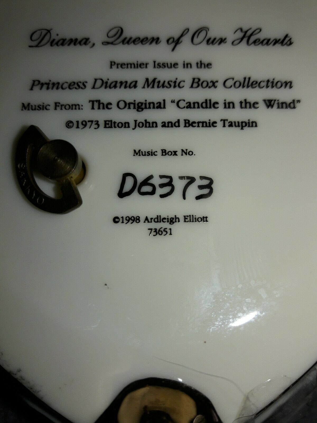 Ardleigh Elliot 1998 - Princess Diana Trinket Music Box - Candle In The Wind 73'