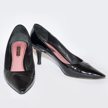 Louis Vuitton Black Patent Leather Med Heel Shoes Pointed Toe Stilettos US 6.5 - $219.41