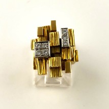 Brutalist 7 Diamond 18K Gold Artist Paash Art Jewelry 1950 1960 Modernism - $1,400.00