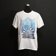 Quiksilver Mens White Blue Graphic Tshirt Size Medium T-Shirt Cotton - $11.88