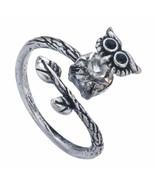 Cute Antique Silver Owl Rhinestone Adjustable Wrap Ring - $7.99