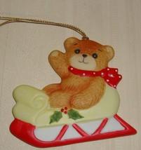 1981 Enesco Lucy And Me Teddy Bear on Sleigh Holly Porcelain Christmas Ornament  - $9.89