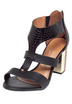 Pretty T Strap Chunky Heel Sandal with Croc Print - $55.00