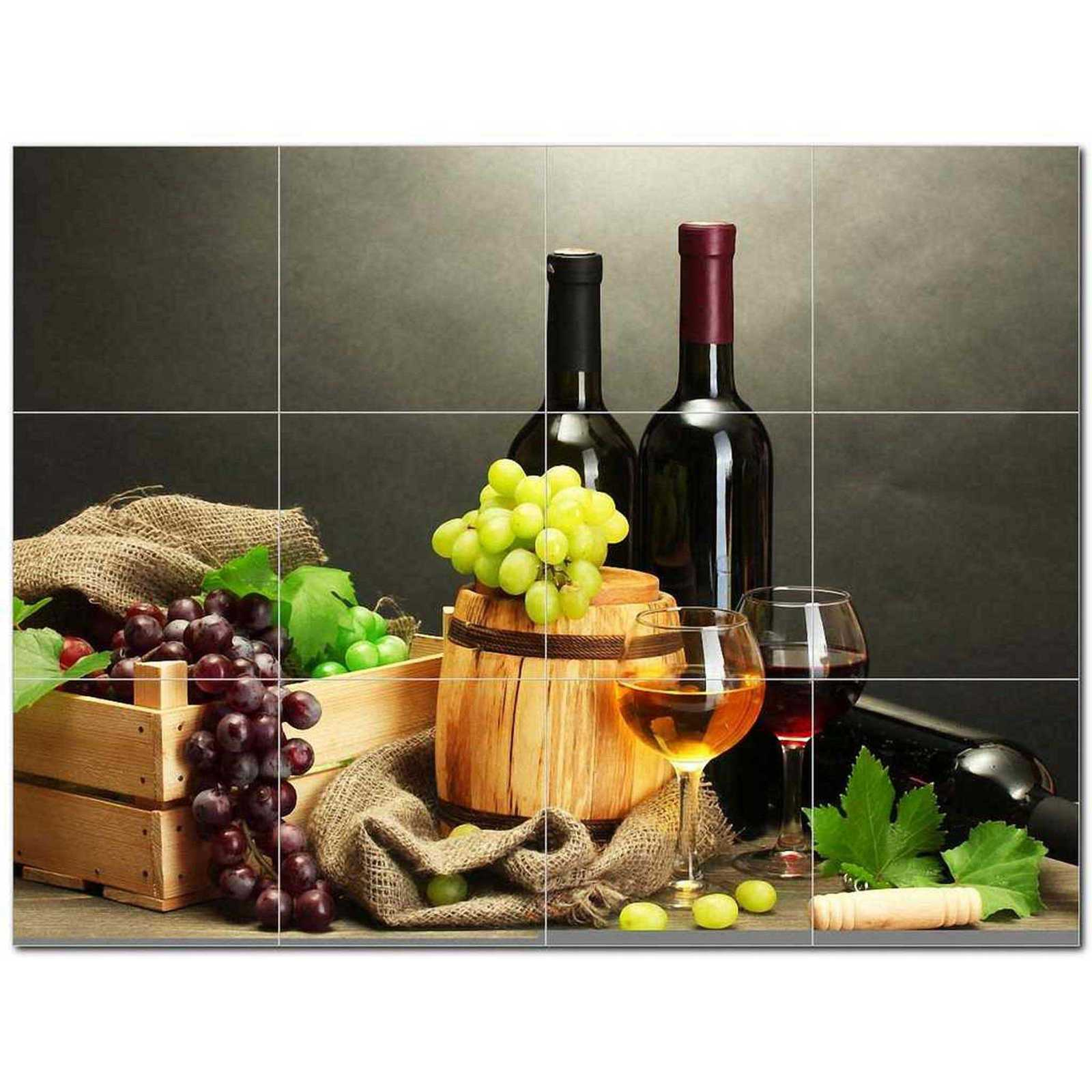 Primary image for Wine Grapes Ceramic Tile Mural Kitchen Backsplash Bathroom Shower BAZ406358