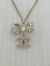 Auth necklace GLD top B11P ribbon motif rhinestone - $652.13