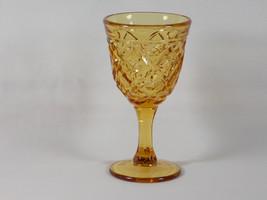 Viking Glass Diamond Thumbprint Amber Wine Goblet #7218, Sandwich Glass ... - $28.00