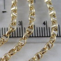 18K YELLOW WHITE GOLD CHAIN SAILOR'S NAVY LINK 3 MM, 19.70 INCHES MADE IN ITALY image 2