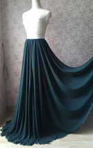 Dark Green Plus Size Maxi Chiffon Skirt Dark Green Bridesmaid Maxi Chiffon Skirt image 2