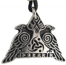 Valknut Raven Warrior Pendant Valkyrie Odin's Huginn And Muninn Crow Jew... - $39.87