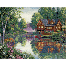 """Dimensions/Gold Collection Counted Cross Stitch Kit 16""""X12""""-Cabin Fever (18 Coun - $53.88"""