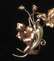40s victorian A+Z flowers and vines brooch with mixed metals image 3
