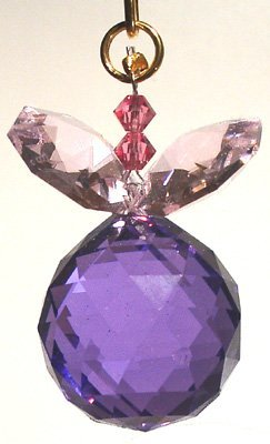 J'Leen Blue Violet Ball with Rosaline Leaves Crystal Berry Ornament