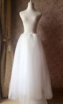 Plus Size White Wedding Bridal Skirt White Floor Length Tulle Skirt High Waisted image 4