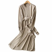 Long  Dress Spring Cashmere Belt Fitted Waist  Midi Style Maxi Dresses - $46.55