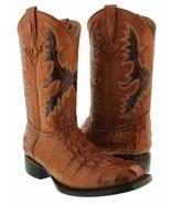 Mens Cowboy Leather Boots Cognac Alligator Tail Print Square Toe Botas R... - $97.99