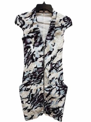 Karen Millen Short Sleeve Beige Black Blue Summer Zipper Floral Dress Size 2