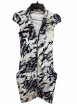 Karen Millen Short Sleeve Beige Black Blue Summer Zipper Floral Dress Size 2 image 1