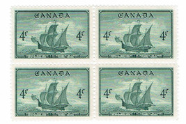1949 John Cabot Ship block of 4 Canada Postage Stamps Catalog Number 282 MNH