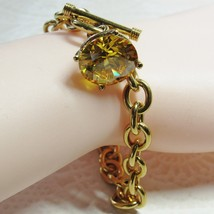Gold Vermeil Sterling Silver Yellow Cubic Zirconi CZ Stone Toggle Clasp ... - $54.45