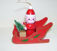Vintage Wooden Ornament Santa Claus in Sleigh - $12.19