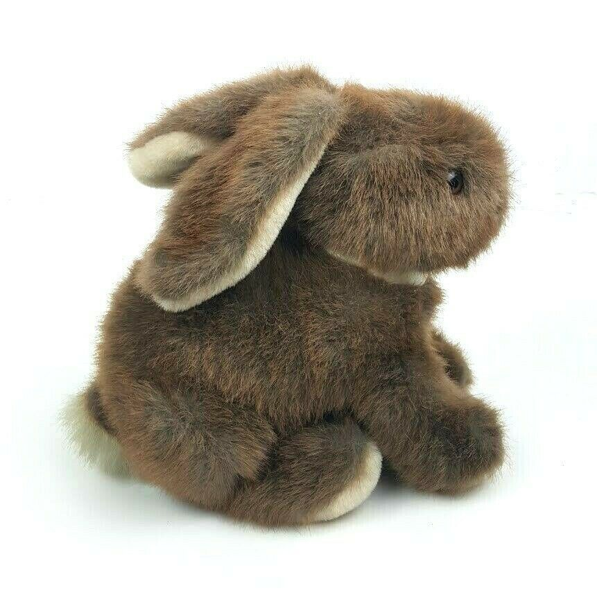 "Vintage Dakin 1986 Bunny Rabbit Sitting 9"" Brown Plush Stuffed Animal Floppy"