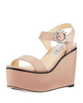 Jimmy Choo Nylah Leather Wedge Platform Sandals 39.5 MSRP: $650.00 - $445.50