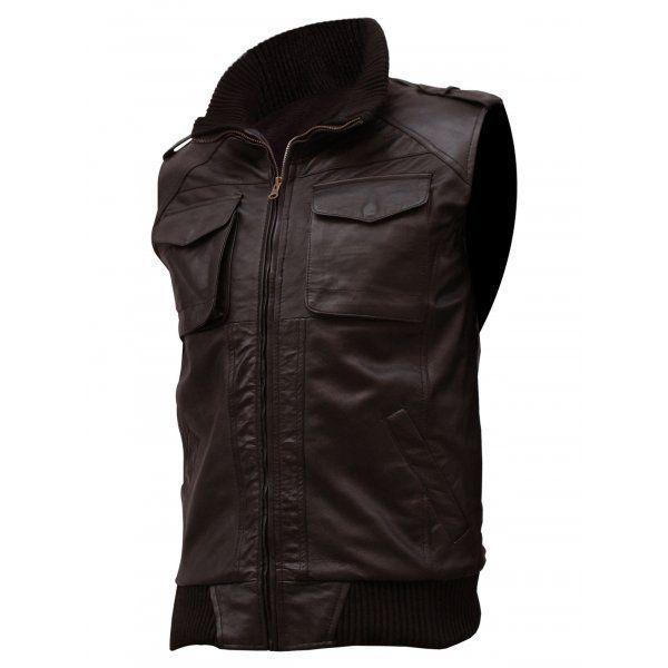 QASTAN Men's New Brown Soft Bomber Superb Motorbike Leather Moto Vest QMV04
