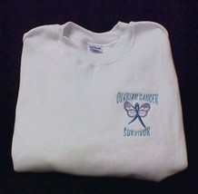 Ovarian Cancer Sweatshirt Ribbon Butterfly White Crew Neck Medium Unisex New - $24.22
