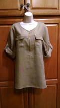 NWT Ellen Tracy Womens Sz M Khaki Peasant Tunic 100% Linen Zip Top Blous... - $34.98