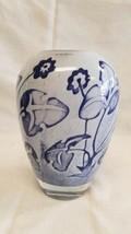 Kosta Boda Vase Signed OLLE BROZEN blown glass Sweden Scandinavian Blue ... - $131.08