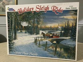 White Mountain Puzzles Holiday Sleigh Ride 1000 Piece Jigsaw Puzzle Christmas  - $49.99