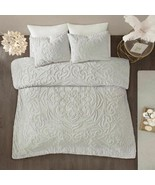 Luxury 3pc Soft Grey Cotton Chenille Medallion Duvet Cover AND Decorativ... - £99.47 GBP+
