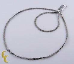 10k Oro Blanco Fox Trenza Cadena Collar y Pulsera Conjunto de Joyas - $356.40
