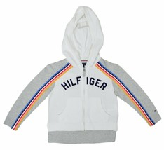 Tommy Hilfiger Girls Zip-Up Hooded Jacket Eyelet Pockets White, Sz XL 96... - $50.48