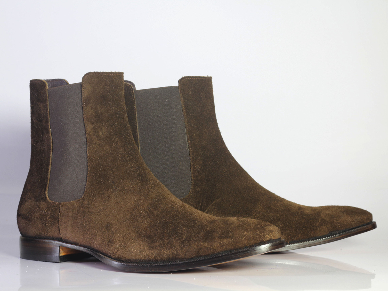 Handmade Men's Dark Brown Suede High Ankle Chelsea Style Boots