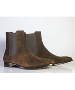 Handmade Men's Dark Brown Suede High Ankle Chelsea Style Boots - $149.99