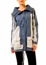 One Teaspoon Women's Indigo Patchwork Crest Duffle Jacket L Blue RRP$162... - $84.64