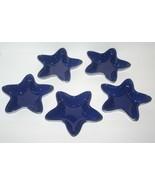 "5 Blue Star Shaped Dish Americana Patriotic Serving Dish 7"", NEW, Portugal - $74.44"