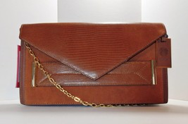 VINCE CAMUTO LEATHER SNAKE SUEDE CLUTCH CHAIN SHOULDER BAG WHISKEY TAN B... - $72.34
