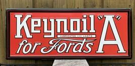 "Vintage Keynoil ""A"" Ford Embossed Metal Sign Stamped Porcelain Usa Oil Gas Lube - $180.45"