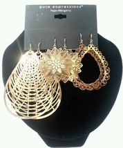 Pure Expression Hypo-Allergenic Hoop Earrings Set of 3 Gold Tone - $1.99