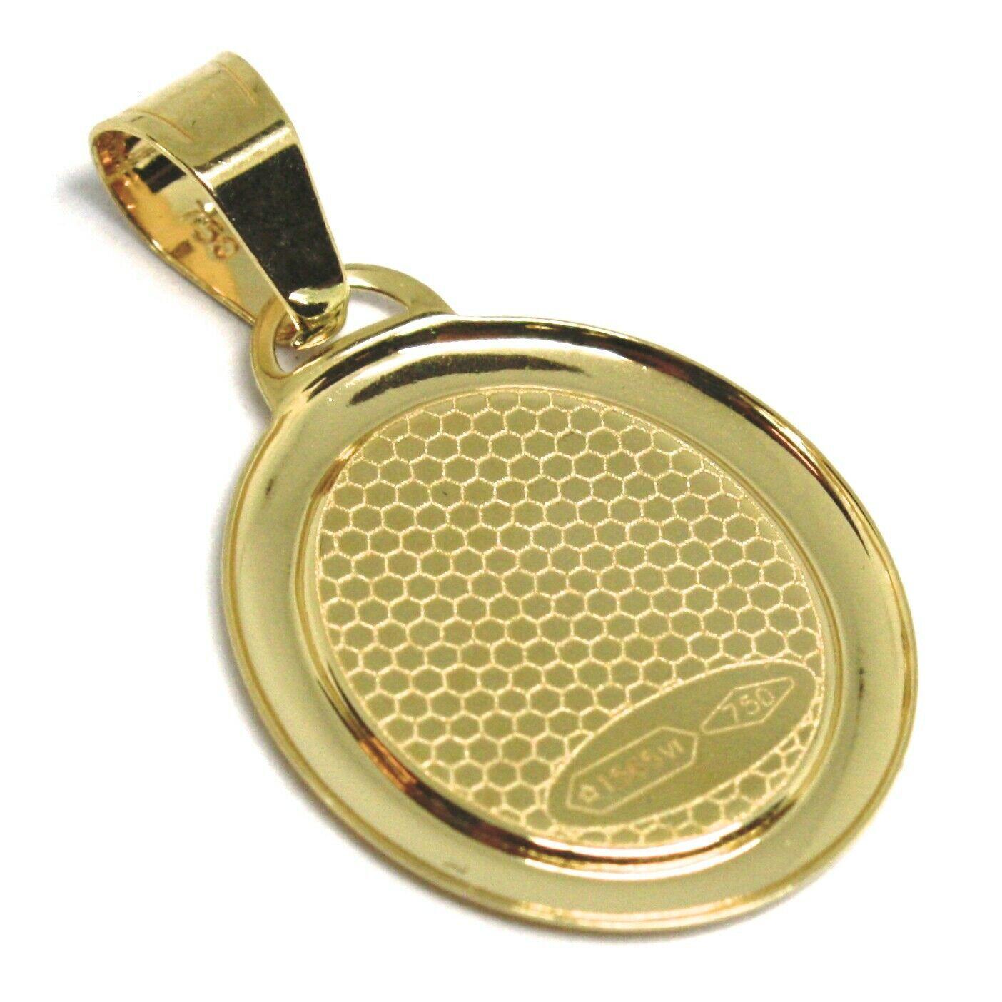 Colgante Medalla de Oro Amarillo 750 18Ct, Virgen de Fátima con Corona, Ovalados