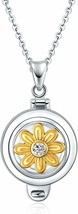 AOBOCO Sterling Silver Locket Necklace That Holds Pictures with Swarovski - $56.42