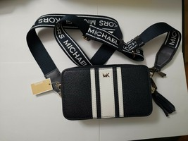 NWT Michael Kors Logo Pebble Leather small Camera Bag $228 admiral/optic... - $146.52