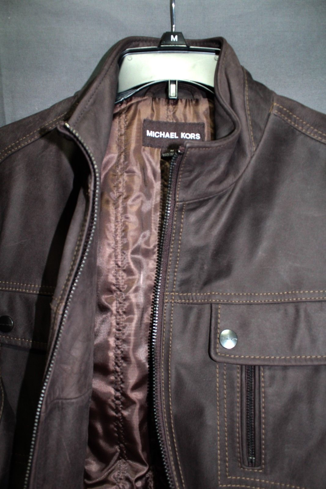 NEW Michael Kors Leather Jacket Brown Men's Rugged Leather Coat MEDIUM $599